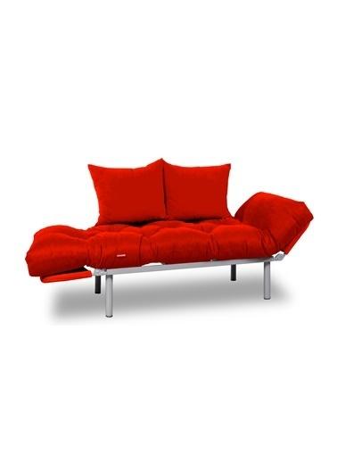 Dekoro İkili Yataklı Ev Ofis Balkon Teras Kanepesi (Kırmızı-Kırmızı) Kırmızı